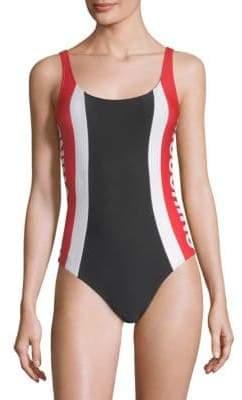 Moschino Logo Stripe One-Piece Swimsuit