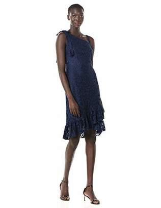Kensie Dress Women's Mock One Shoulder Lace Dress with Flounce