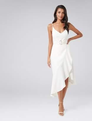 Forever New Isabella Belted Ruffle Hem Dress - Porcelain - 4