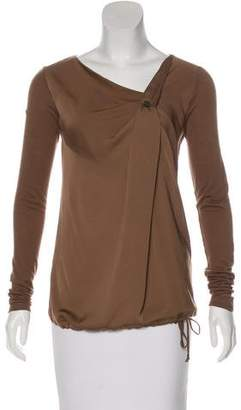 Trussardi Satin-Paneled Long Sleeve Top