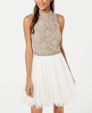 City Studios Juniors' Lace & Tulle Fit & Flare Dress