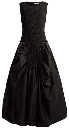 J.W.Anderson Smocked Bodice Gathered Dress - Womens - Black