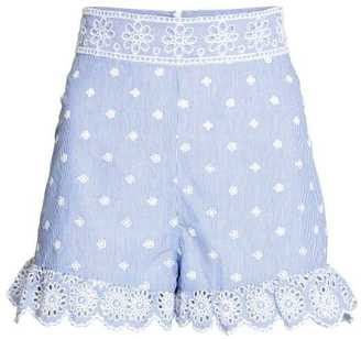 H&M Embroidered Ruffled Shorts