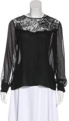 Nina Ricci Lace-Accented Long Sleeve Blouse
