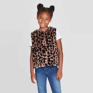 Cat & Jack Girls' Animal Print Sherpa Vest Beige