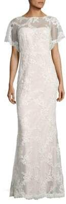 Marchesa Embroidered Cowlback Gown
