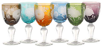 Pols Potten Peony Wine Glasses, 250ml, Assorted, Set of 6