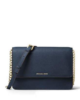 MICHAEL Michael Kors Daniela Large Saffiano Crossbody Bag, Black $198 thestylecure.com