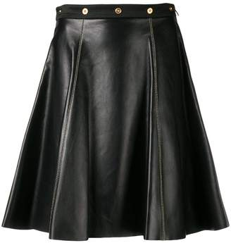Versace leather flared skirt