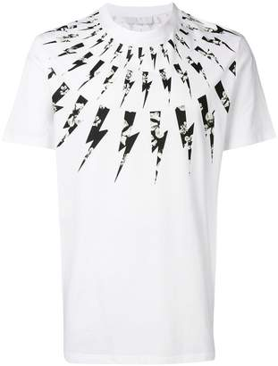 Neil Barrett floral lightning bolt T-shirt
