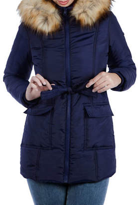 MODERN ETERNITY Maternity Rachel 3-in-1 Mid-Thigh Faux Fur-Accented Puffer Coat