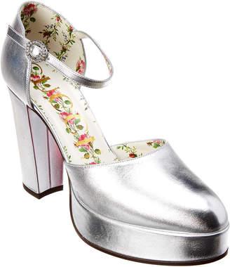 Gucci Metallic Leather Ankle-Strap Platform Pump