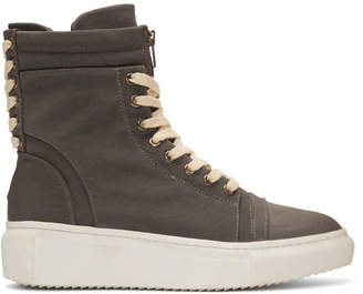D by D Grey Double Lace High-Top Sneakers
