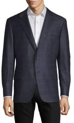 Hickey Freeman Plaid Wool & Silk Modern-Fit Sportcoat