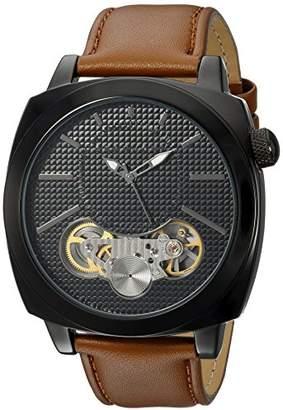 Sean John Men's 'Faux Automatic' Quartz Metal and Leather Dress Watch