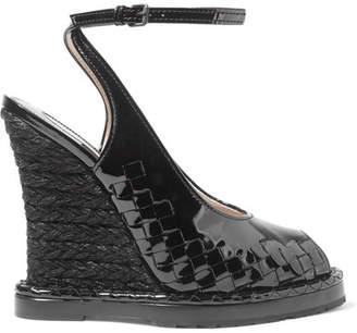 Bottega Veneta - Intrecciato Patent-leather Espadrille Wedge Sandals - Black $990 thestylecure.com