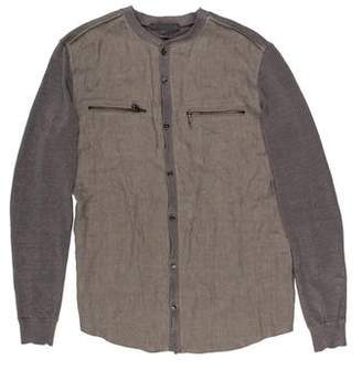 John Varvatos Chambray-Paneled Linen Cardigan