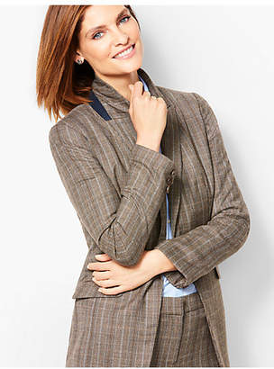 Talbots Forest Plaid One-Button Blazer