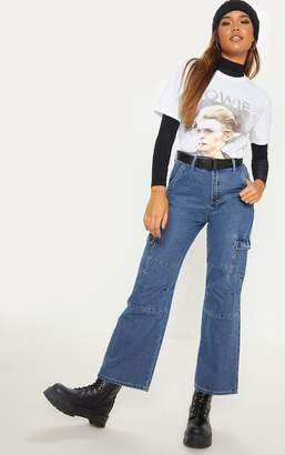 PrettyLittleThing Dark Wash Contrast Stitch Cropped Wide Leg Cargo Jean