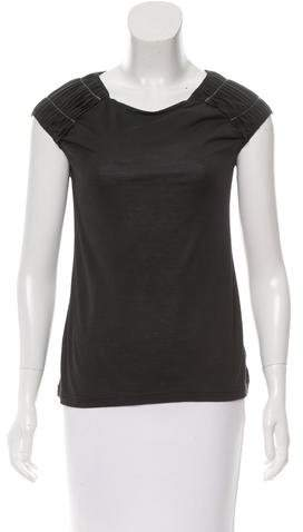 Christian Dior Silk-Blend Pintuck-Accented Top