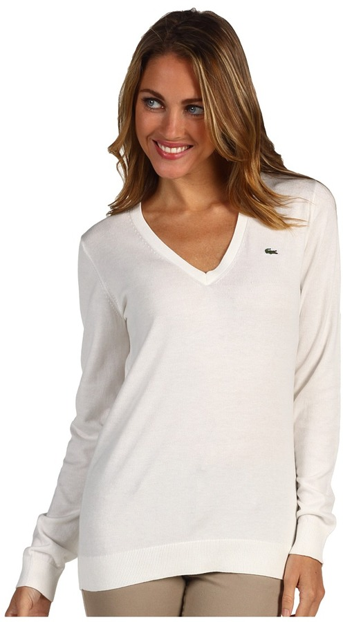 Lacoste - L/S Extra-Fine Cotton V-Neck Sweater (Cake Flour White) - Apparel