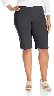 SLIM-SATION Women's Plus Size Wide Band Pull-On Solid Walking Short