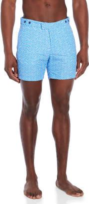 Trunks Frescobol Carioca Blue & White Tailored Short Ondas