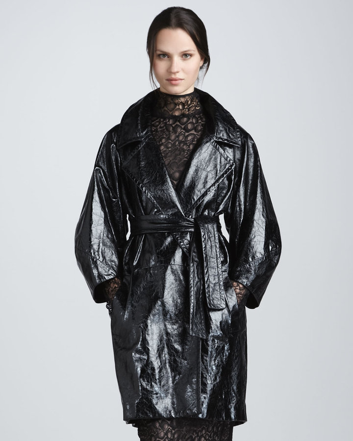 Diane von Furstenberg Jade Croc-Embossed Leather Coat