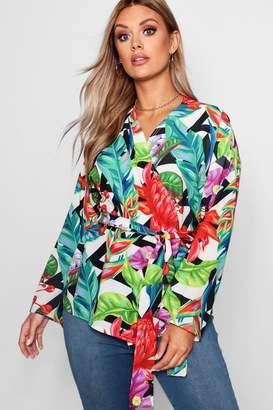 boohoo Plus Floral Tropical Print Wrap Top