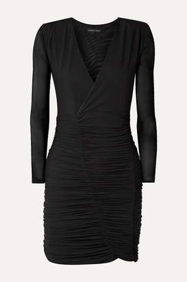 Marika Vera Sean Wrap-effect Ruched Mesh Dress - Black