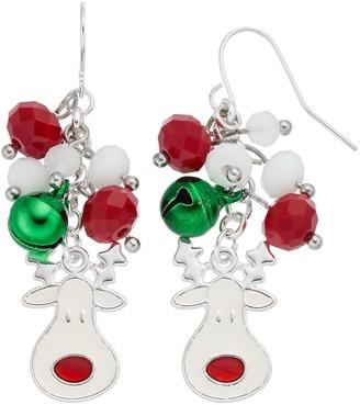 Beaded Jingle Bell & Reindeer Nickel Free Drop Earrings