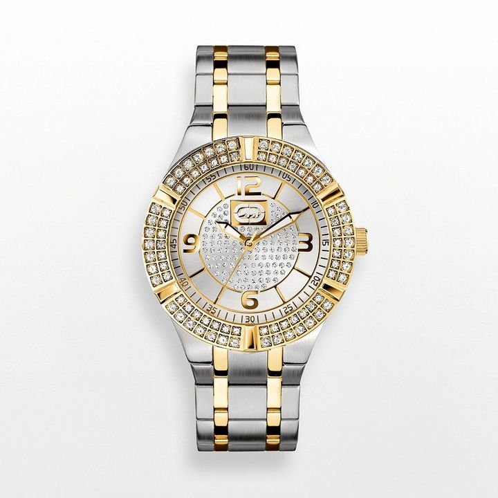 Swarovski Rhino by marc ecko rock steady two tone stainless steel crystal watch - made with elements - e8m090mv - men