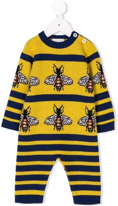Gucci Kids long-sleeve striped romper