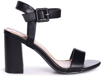 1355a1d93b Linzi Kate Black Nappa Open Toe Stacked Block Heels With Ankle Straps