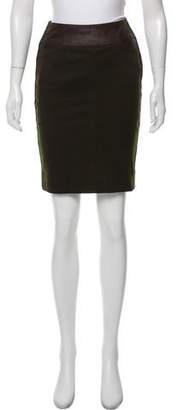 Donna Karan Leather-Accented Mini Skirt
