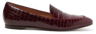 Aquazzura Pursuit Crocodile Effect Leather Loafers - Womens - Burgundy