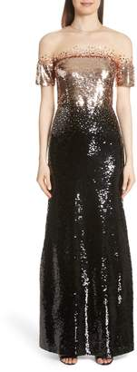 Sachin + Babi Illusion Off the Shoulder Sequin Gown