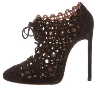 Alaia Laser Cut Lace-Up Booties