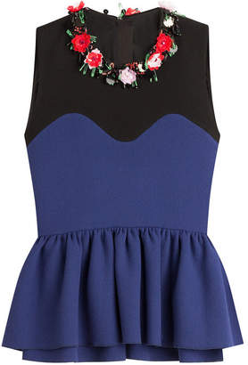 MSGM Flower Embellished Wool Top with Peplum
