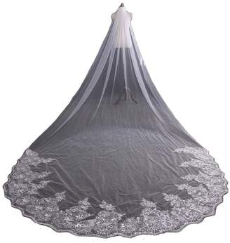 AliceHouse Women's Long Lace Edged Cathedral Length Wedding Bridal Veils 040