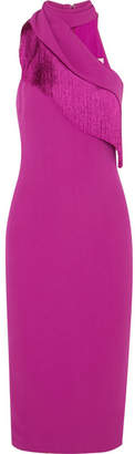 Cushnie Fringed Stretch-crepe Dress - Magenta