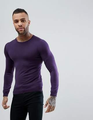 Asos Muscle Fit Merino Wool Sweater In Purple