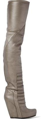 Rick Owens Ruhlmann Metallic Textured-leather Wedge Thigh Boots