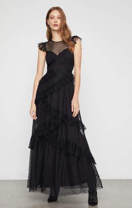 BCBGMAXAZRIA Asymmetrical Ruffle Gown