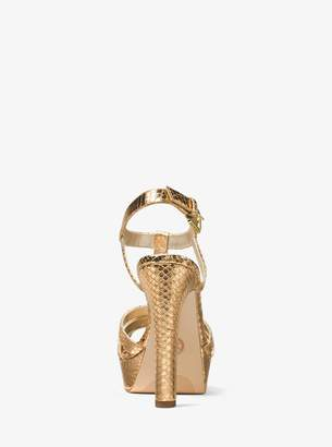MICHAEL Michael Kors Catalina Metallic Embossed-Leather Sandal