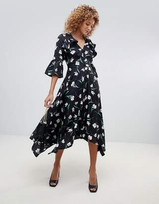 Influence asymmetric floral midi tea dress with open back detail