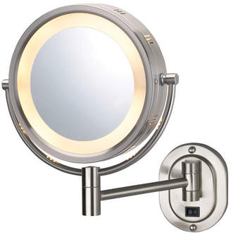 """The Jerdon HL165ND 8"""" Lighted Wall Mount Direct Wire Makeup Mirror Bedding"""