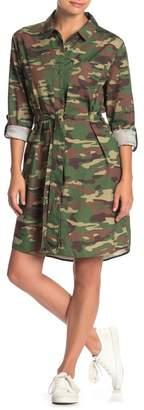Velvet Heart Camo Tie Waist Shirt Dress