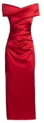 Talbot Runhof Stretch Satin Off-The-Shoulder Dress