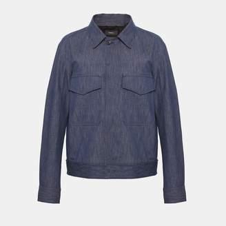 Theory Indigo Cotton Utility Jacket